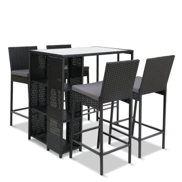 Gardeon Outdoor Bar Set Table Stools Furniture Wicker 5PCS