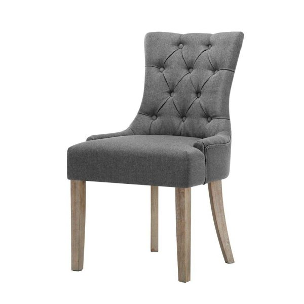 Artiss 2x Dining Chair CAYES French Provincial Chairs Wooden Fabric Retro Cafe
