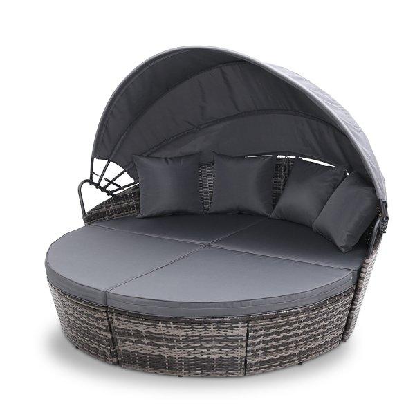 Gardeon Outdoor Lounge Setting Patio Furniture Sofa Wicker Garden Rattan Set Day Bed Grey