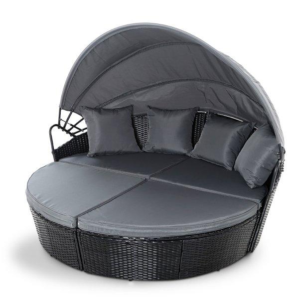 Gardeon Outdoor Lounge Setting Patio Furniture Sofa Wicker Garden Rattan Set Day Bed Black