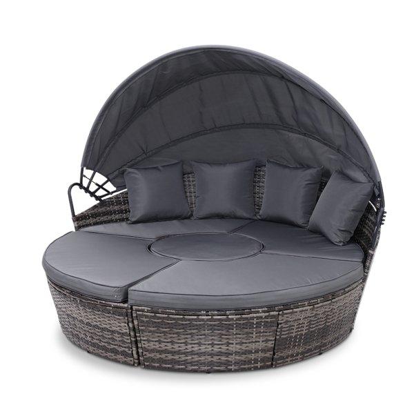 Gardeon Outdoor Lounge Setting Sofa Patio Furniture Wicker Garden Rattan Set Day Bed Grey