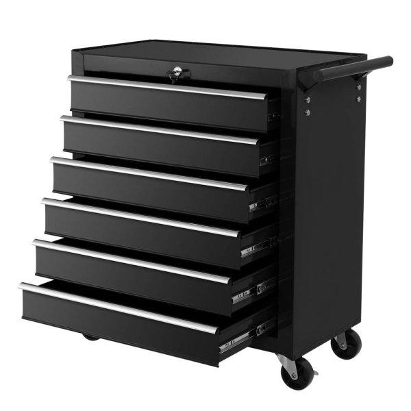 Giantz Tool Box Trolley Chest Cabinet 6 Drawers Cart Garage Toolbox Set Black