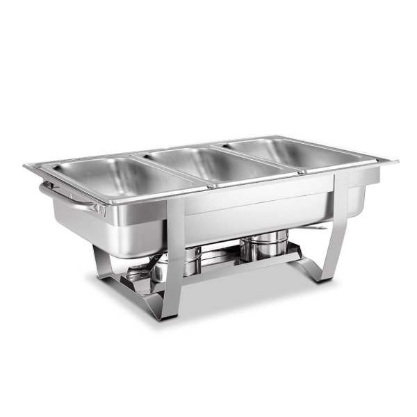 Emajin 9L Bain Marie Bow Chafing Dish 3Lx3 Stainless Steel Food Buffet Warmer